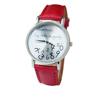 Women Leather Watch Wathever I am Late Anyway Letter Watches