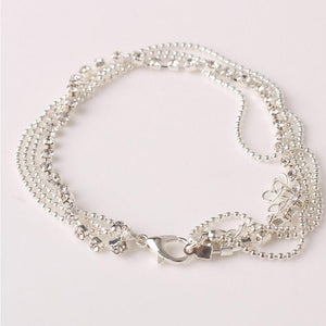 Multi Layer Silver Crystal Ball Anklet