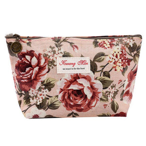 Vintage Floral Printed  Travel Make Up Pouch