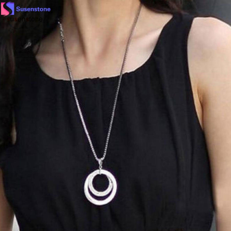 SUSENSTONE Long Chain Women Fashion Crystal Rhinestone Silver Plated Pendant Necklace Gift