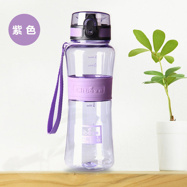 Leak-Proof Seal- Sport Bicycle Plastic Tritan Water Bottles  With Cover Lip Filter BPA Free