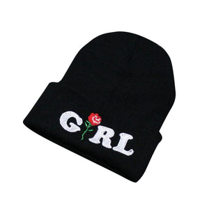 Girl Rose Embroidered Beanies