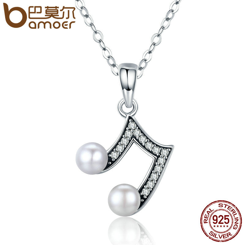 BAMOER 100% 925 Sterling Silver Music Melody Fresh Water Pearl Long Pendant Necklace