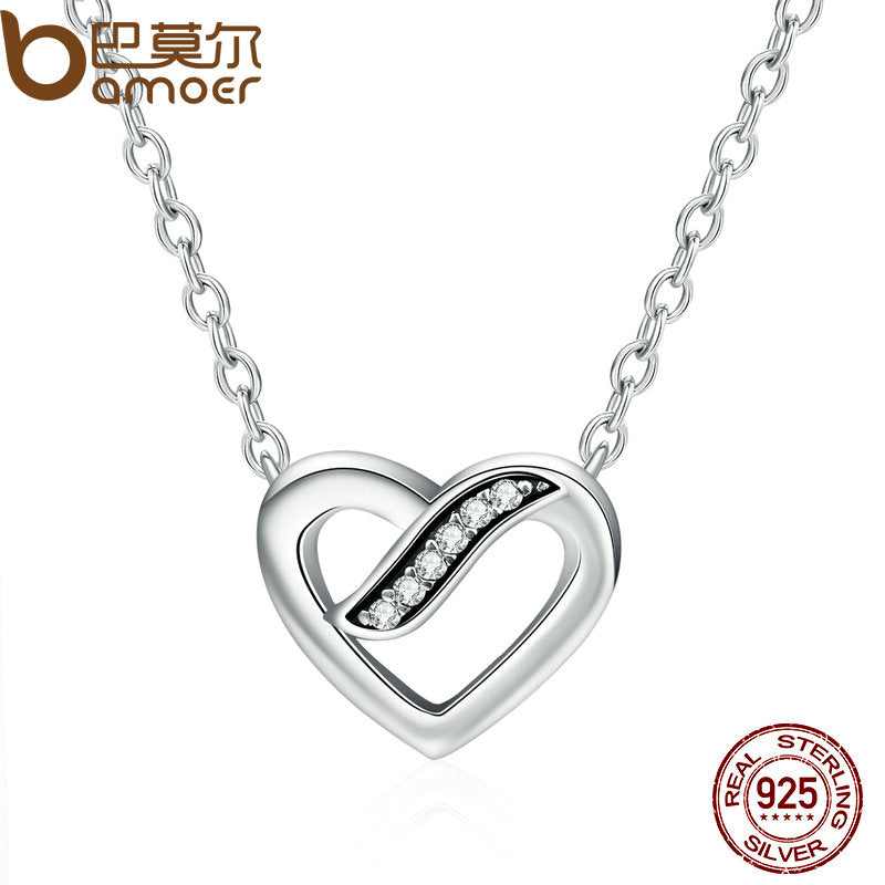 Authentic 925 Sterling Silver Ribbon Of Love Heart, Clear CZ Pendant Necklace