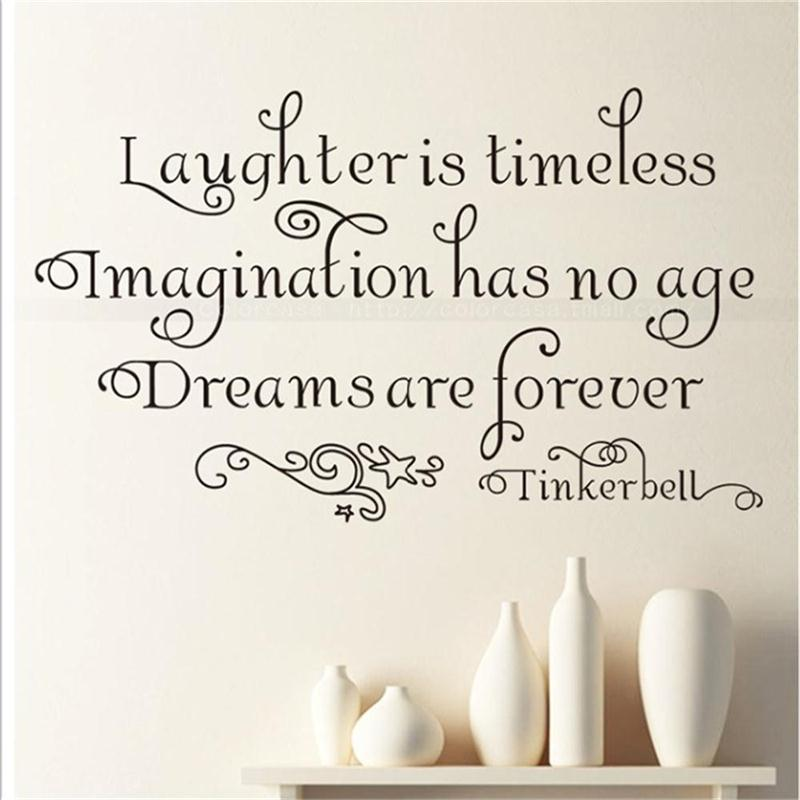 Laughter is Timeless Tinkerbell Saying Vinyl Art Sticker