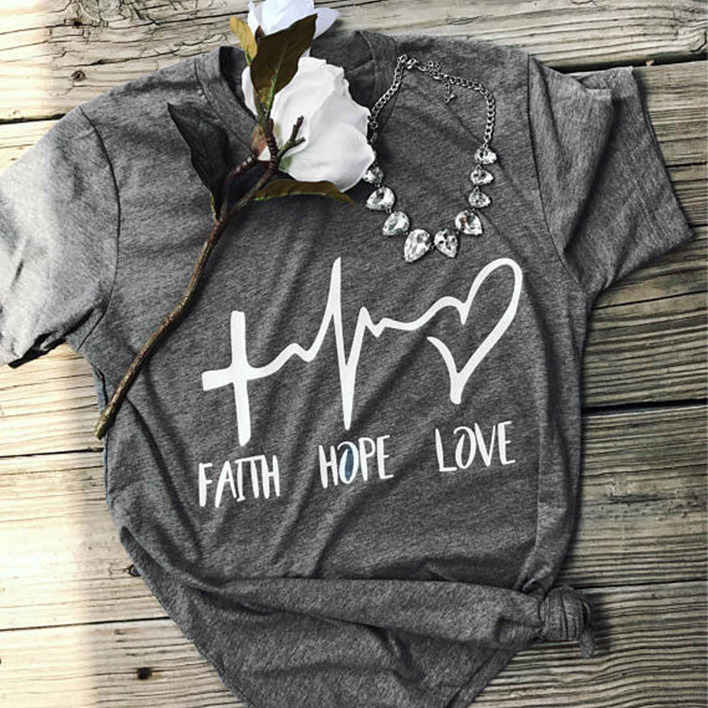 2018 Faith Hope Love Letter Print Femme Valentine Tops Tees