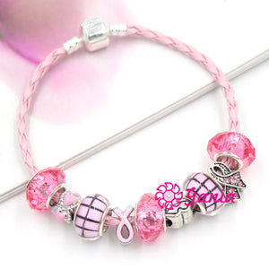 SWEET Pink Ribbon Breast Cancer Leather Rope Bracelet