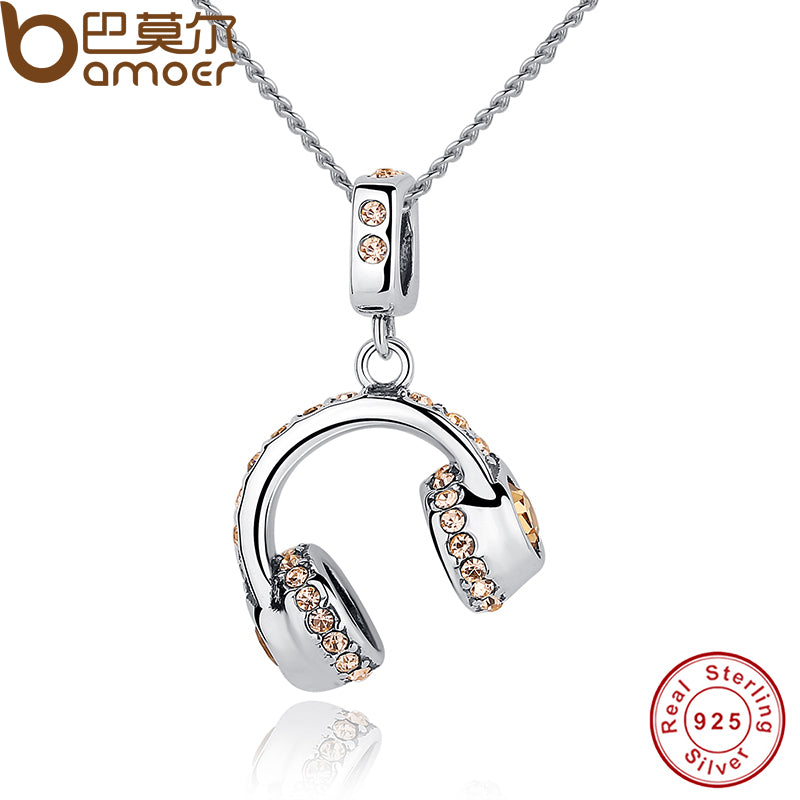 NEW!! Sterling Silver Musical Headset Pendant Necklace