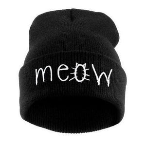 Winter Knitting MEOW Beanie Hat