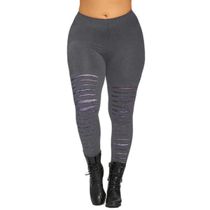 Plus Size Galaxy Ripped Leggins
