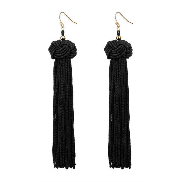 Long Dangle Silk Fringed Earrings