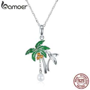 BAMOER Summer Collection Genuine 925 Sterling Silver Coconut Tree Pendant Necklace