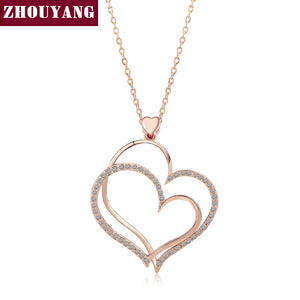 Noble Heart Crystal Rose Gold Color Pendant Necklace