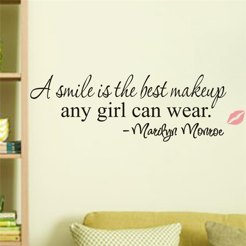 A Smile is the Best Makeup-  Marilyn Monroe inspirational quote Wall Sticker