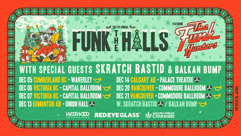 "The Funk Hunters announce 5th annual ""Funk The Halls"" tour with special guests Skratch Bastid and Balkan Bump"