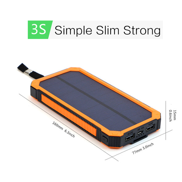 Portable Solar- Power Bank for Outdoor . External Battery Charger for iPhone Samsung Huawei Smartphone Xiaomi Outdoors Camping-15000mAh.