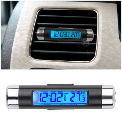 LC4-Clock- Car Digital Clack - Displays LCD Temperature - Thermometer - Clock-Calendar - LCD Beautiful Blue Backlight. Equipped with Clock Clip