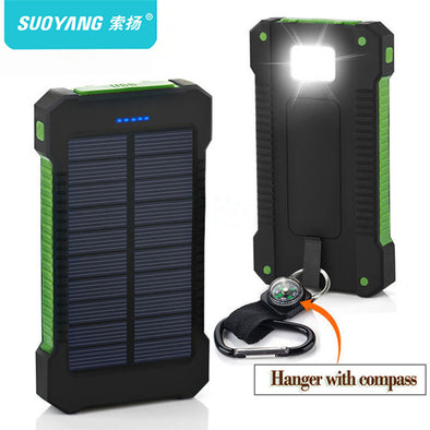 New 2018 Solar Power Bank Waterproof 20000mAh . Solar Charger.  2 USB Ports External Charger . Powerbank for Smartphone with LED Light