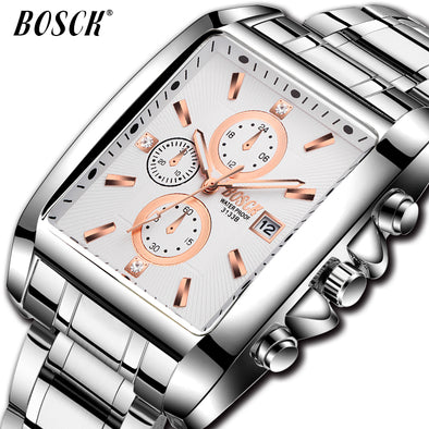 BOSCK Men Watch. Top Brand Fashion For Business Meetup - Sport - Waterproof - Stainless Steel