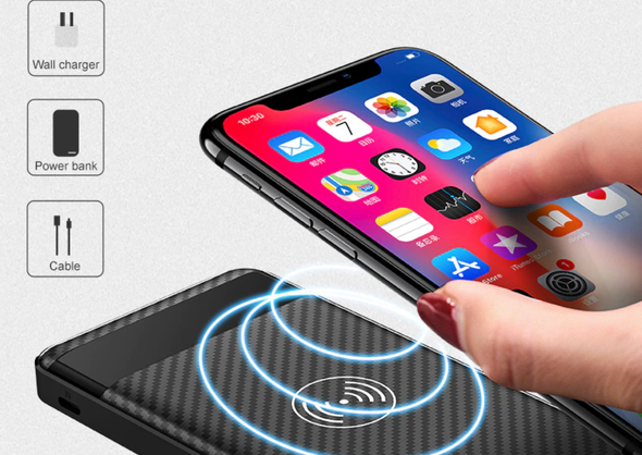 QI-9 Wireless Charger.  Super Charging with QI Wireless Charger  Technology. Power Bank of 10000mah Awesome Capacity. Also Dual USB for iphone 8 X XS Max XR.