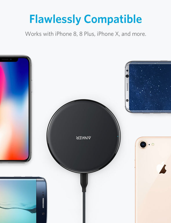 PowerPort Wireless 5 Pad, 5W Standard Qi-Certified Ultra Slim Wireless Charger for iPhone X, iPhone 8 / 8 Plus (AC Adapter Not Included)
