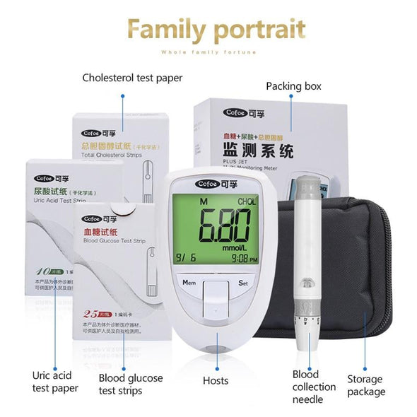 Cofoe5 Blood Sugar Monitor. Kit with Test Strips for Diabetes Device- Cholesterol meter. Uric Acid meter tester strips.