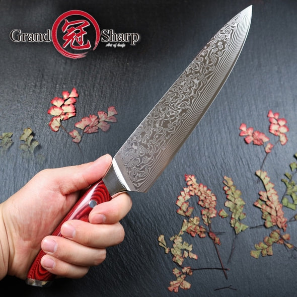 SHARP G67 Japanese Damascus Knife. Exclusive For The Kitchen Chef. Very Sharp Pro Knife.