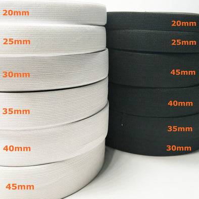 20ELESTIC - HL 5 meters 3/6/10/12/15/25/30/35/40/45MM  White/black Nylon Highest Elastic Bands Garment Trousers Sewing Accessories DIY