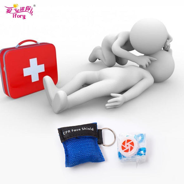 Ifory First Aid CPR Mask for Outdoor . 5pcs/lot.  CPR Resuscitator Mask.  Keychain Emergency Face Shield