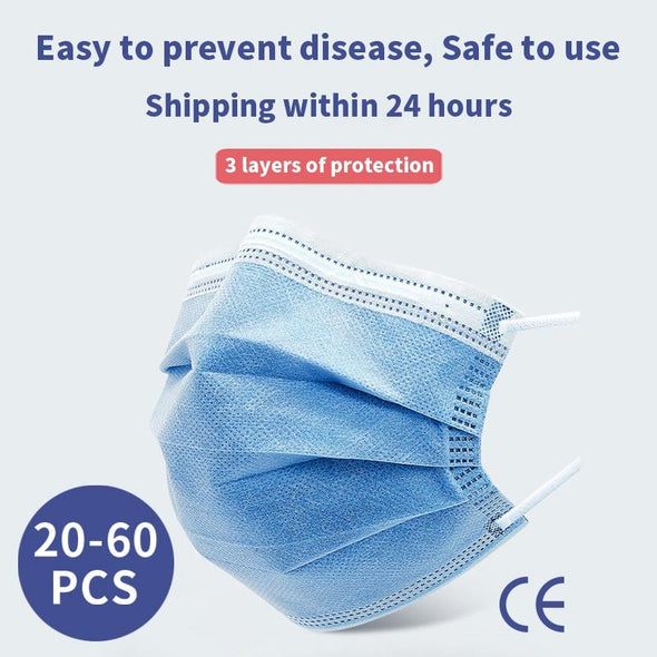 Disposable Mouth mask.  Anti-dust Face Masks. 3 Layer Breathable Protective Mask.
