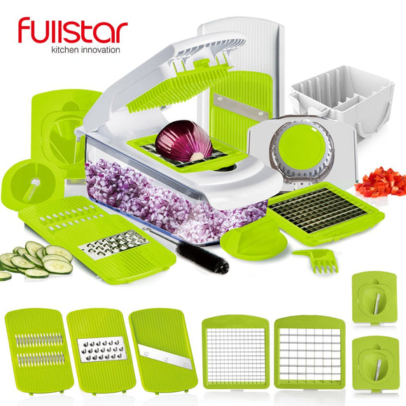 Master K7- Master Kitchen Tool. Equipped with 7 Dicing Blades. Peeler. Slicer. Grater. Chopper. Vegetable Cutter.  Food Chooper. Knife