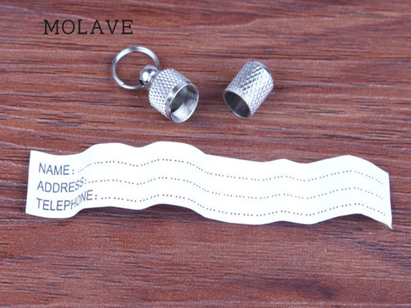 Dog Cat Address Label. MOLAVE Silver Pet.  Barrel Storage Identification Tube ID Tags 1PC 24x10mm