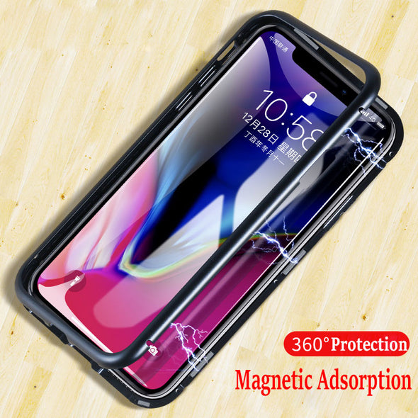 Magnetic Absorption Case for iPhone X XR 7 Plus 9H Tempered Glass Magnet Flip Case for iPhone XS MAX 8Plus 6S Metal Cover Luxury