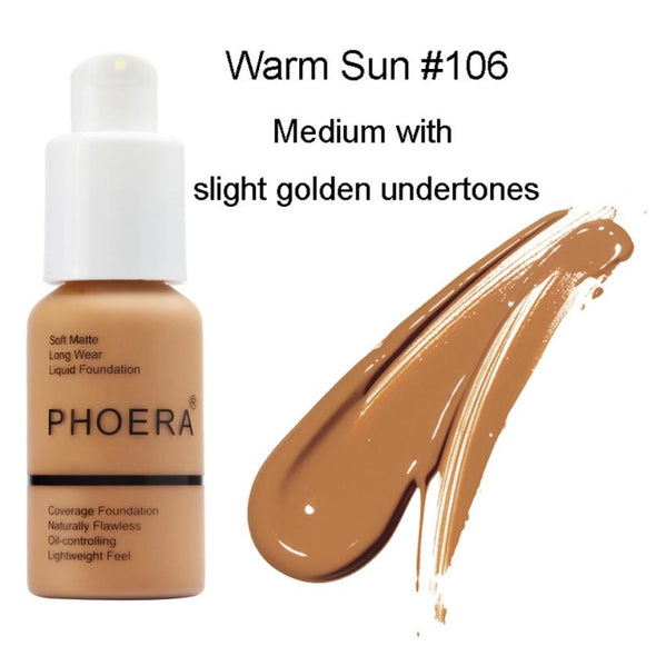 PHOERA shadows makeup pallete.  New 30ml Matte Oil Control Concealer. Liquid Foundation pallet  for your Skin care