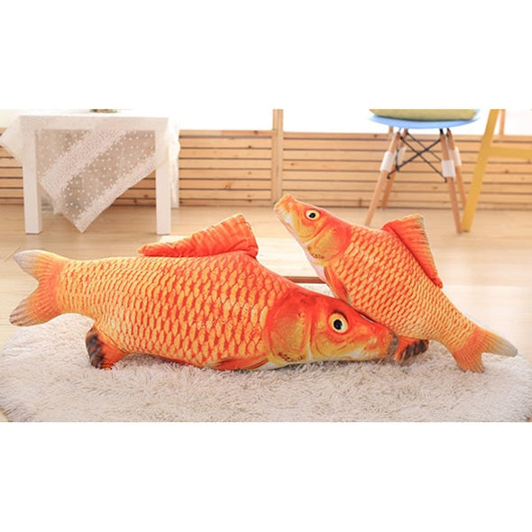 Toy For Pet. Cat Toy Gift . Plush Creative 3D Carp.  Fish Shape Cute Simulation Fish Playing Toy.