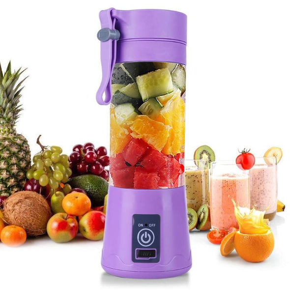 Portable Electric Juicer.  Personal Size Blender Smoothies and Shakes, Mini Blender 4000mAh USB Rechargeable with Six Blades, Handheld Blender Sports,Travel,Gym (Blue). 380ML Handheld Blender Squeezer Reamer.