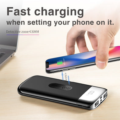 YK18 Wireless Charger. Power Bank Qi Portable. Dual USB with Digital Display.  Qi External Battery Powerbank For iphone X 8 18650 [20000mah]