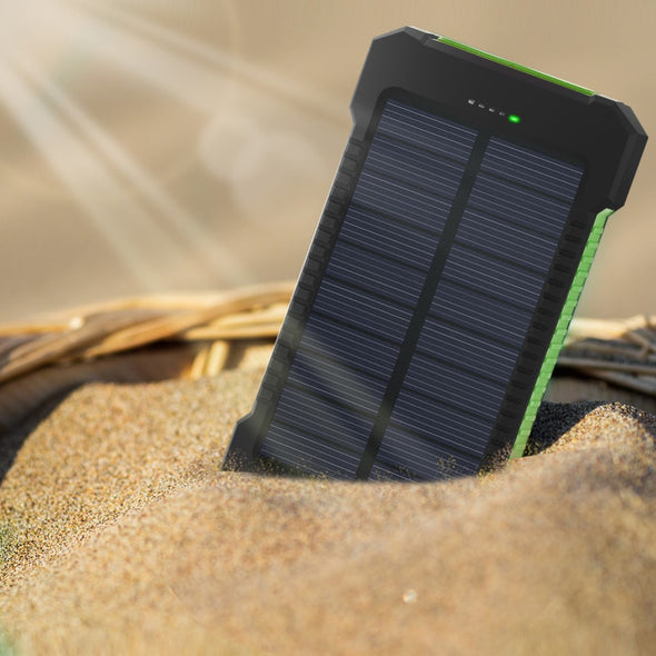 Solar Power Bank Waterproof 20000mAh Solar Charger 2 USB Ports External Charger Solar Powerbank for Smartphone with LED Light