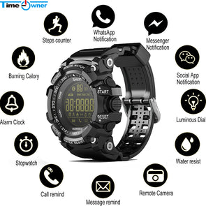 EX16 Smart Watch - with  Notification - Remote Control - Pedometer - IP67 Waterproof  - Wristwatch for Men