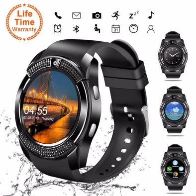 V8 Smartwatch.  Bluetooth Smartwatch. With Touch Screen & Camera/SIM Card Slot. Waterproof SmartWatch.