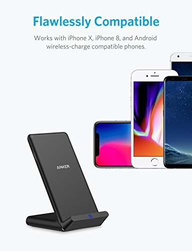 Wireless Charger, Anker PowerPort Wireless 5 Stand, Qi-Certified Wireless Charging stand for iPhone X, iPhone 8 / 8 Plus, , Samsung S8 / S8 Plus / S7 / S7 Edge, S6 / S6 Edge/ S6 Edge Plus, Note 5 (AC Adapter Not Included)