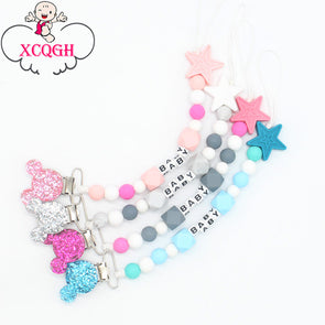 XBaby Pacifier Clips. Chain Pacifier with Mouse Holder for Baby. Excellent Baby Shower Gift.