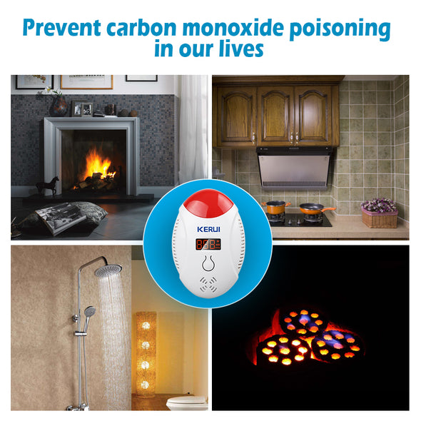 Carbon Monoxide Detector with Battery Backup and Digital Display