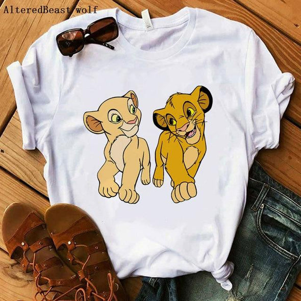 The Lion King Cartoon Print Short Sleeve T Shirt Women Two Little lions vogue Casual printed O Neck T shirt hakuna matata Tees