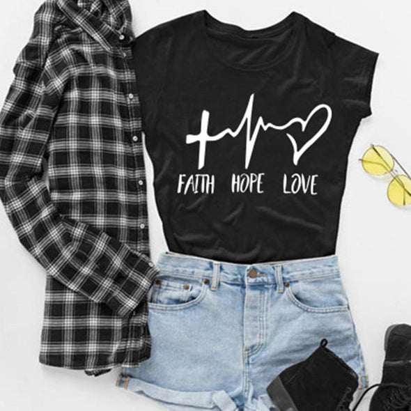 2019 New Fashion shirts Fashion Faith Hope Love Letters Print Tops Tshirt Funny Christianity God Tee Gift - Viva Shirt
