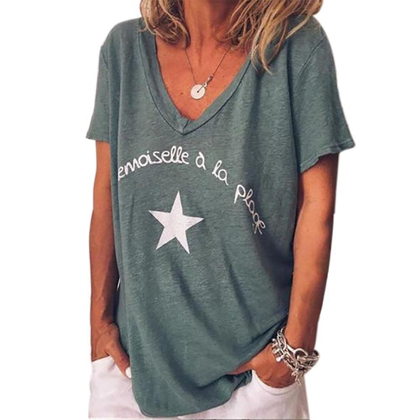 CALOFE Summer Women T Shirt Short Sleeve V Neck Letter Pentagram Print Tee Tops Female Fashion Loose Summer Cottom Clothes - Viva Shirt