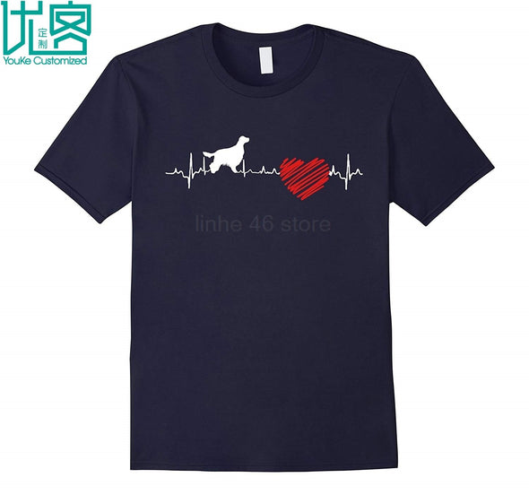 Irish Setter Heartbeat T-Shirt Letter T-shirt Gift Print Men's Tops - Viva Shirt