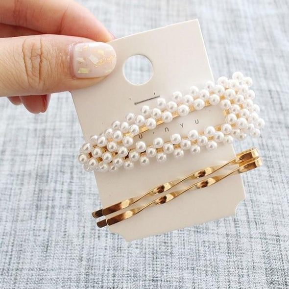 3Pcs/Set Metal Pearls Hair Clips For Women Hairbands Comb Bobby Pin Barrettes Hairpins Headwear Hair Accessories Styling Tools