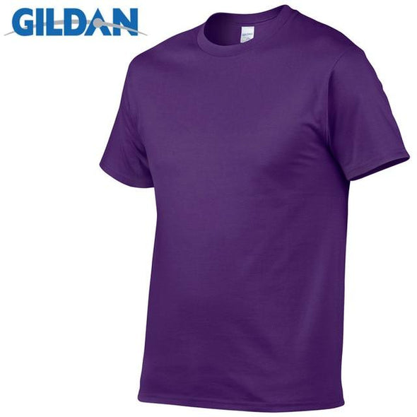 GILDAN Solid color T Shirt Mens Black And White 100% cotton T-shirts Summer Skateboard Tee Boy Skate Tshirt Tops European size