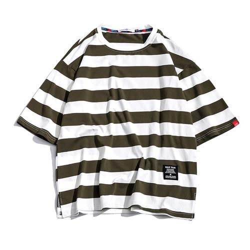 Black Fashion T Shirt Mens Cotton Tshirt Striped For Men Tee Summer Japanese Casual T-shirts Streetwear Fitness Tees Oversized